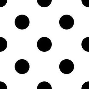 One Inch Black Polka Dots on White