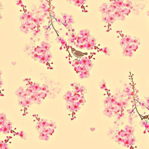 Cherry Blossom Bird Branches