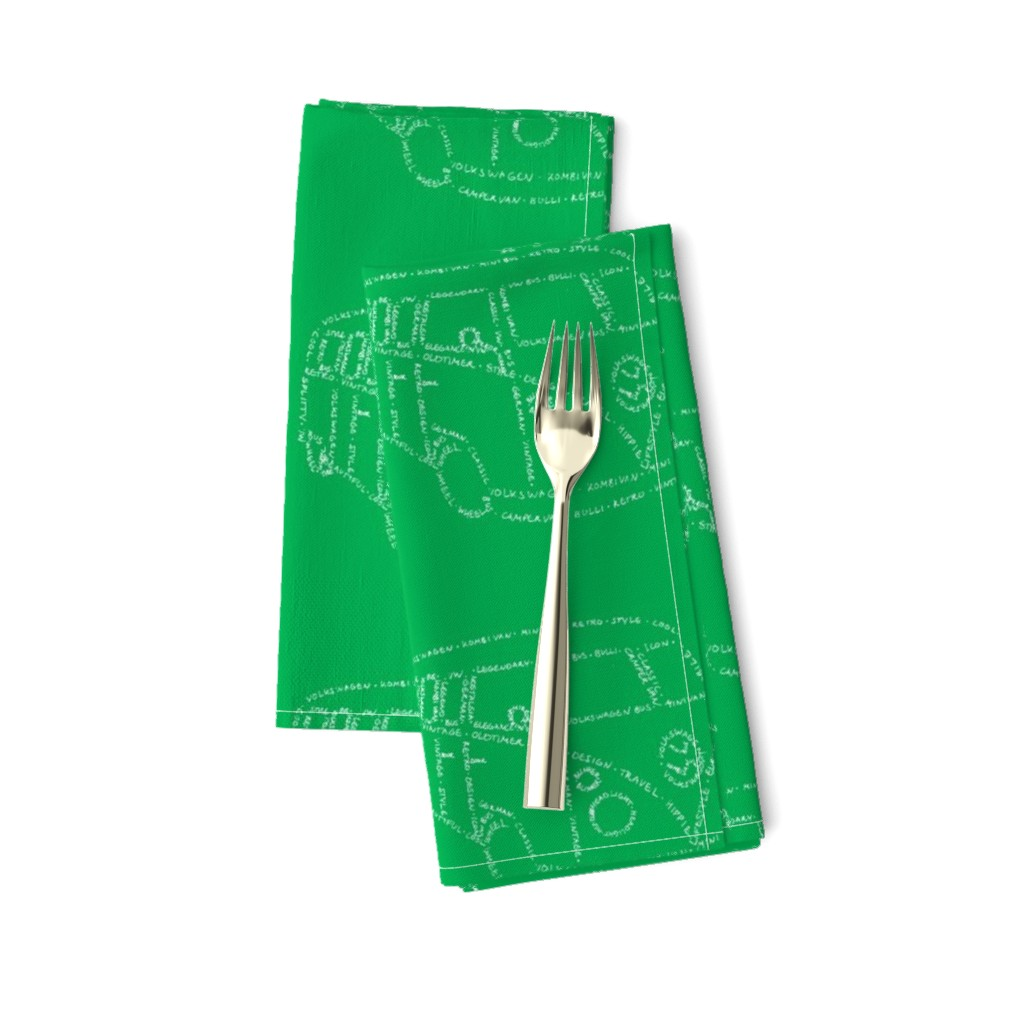Amarela Dinner Napkins featuring Kombi Van Kalligram green on white by blue_jacaranda