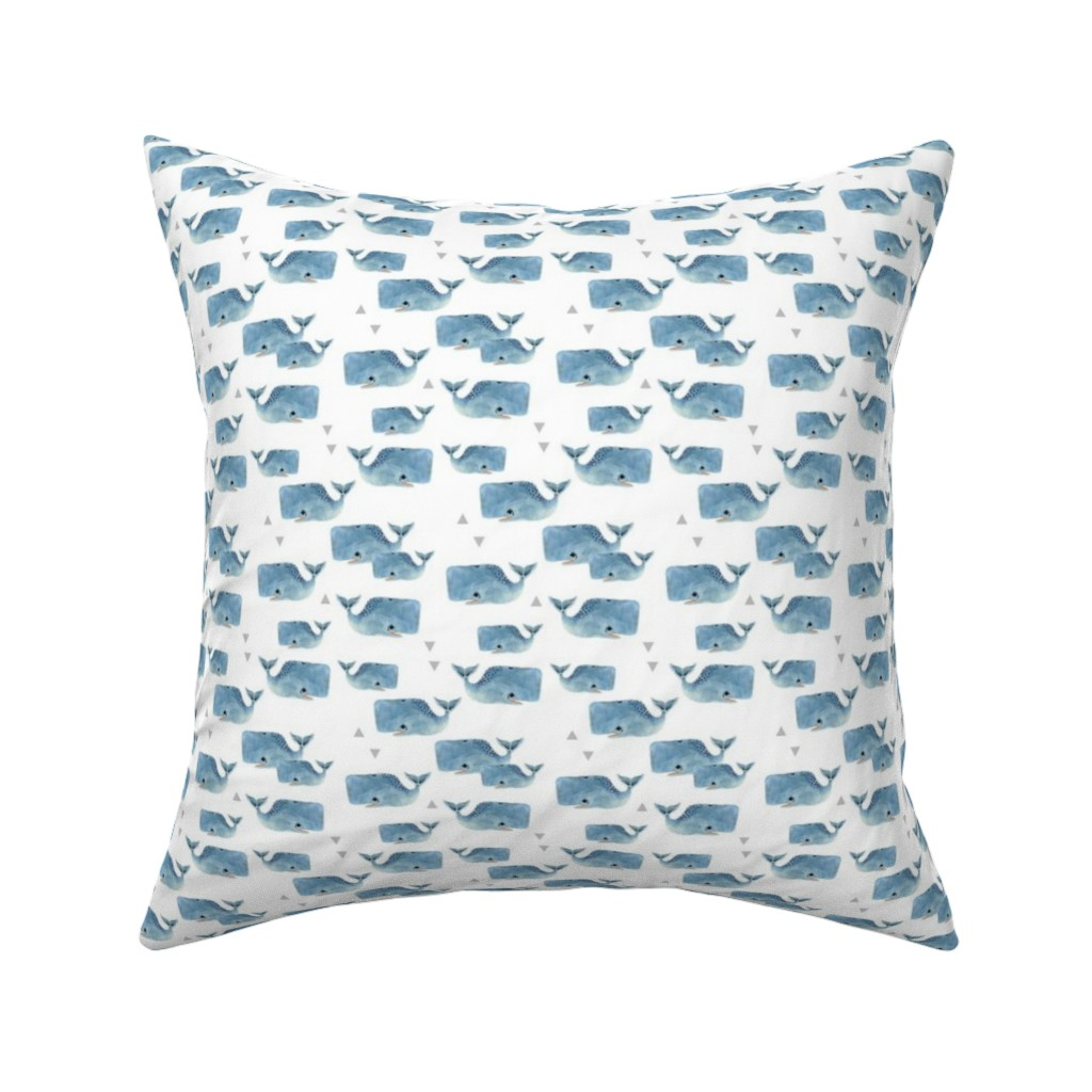 Catalan Throw Pillow featuring Smaller Whale Pod with Triangles by taraput