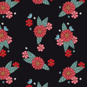 Black Floral with Little Bird