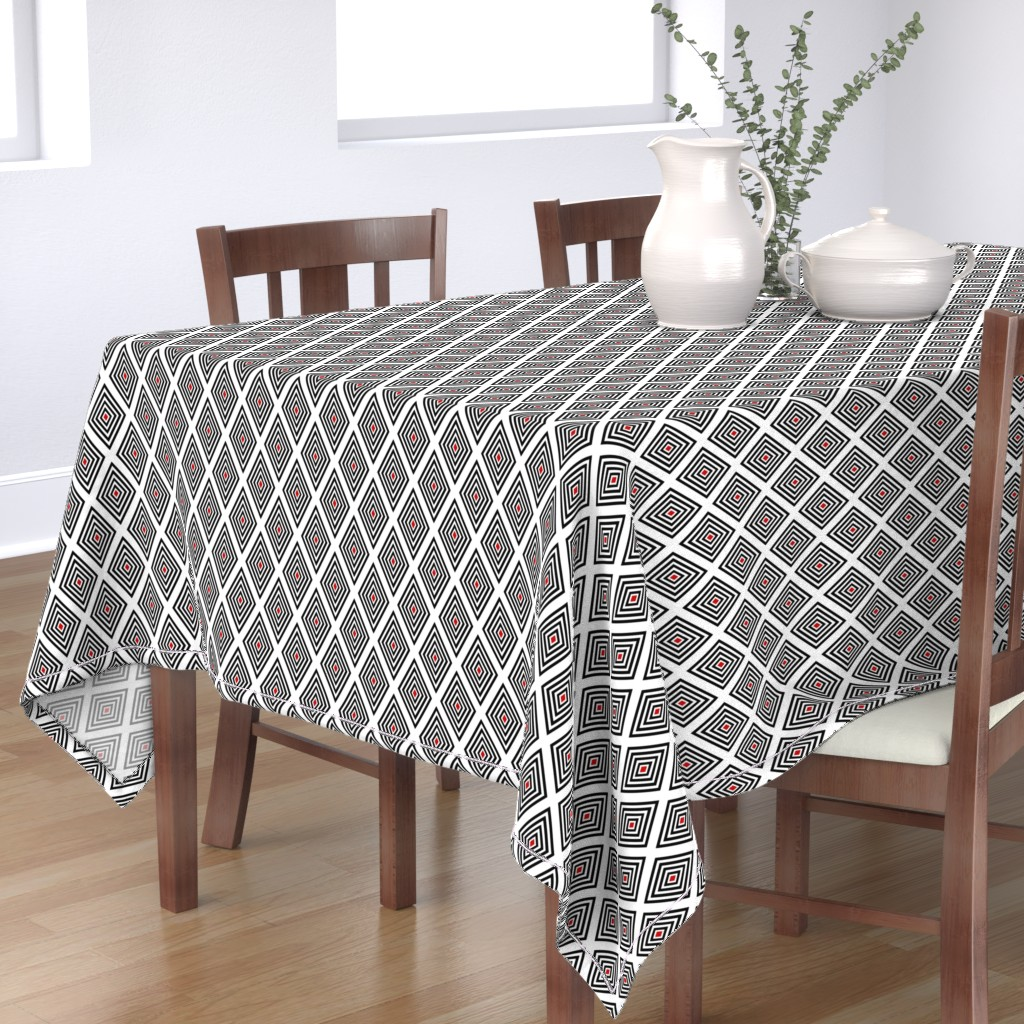 Bantam Rectangular Tablecloth featuring Red-centered black on white UK Op Art diamonds by Su_G_©SuSchaefer by su_g
