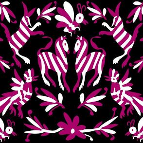 Black Fuchsia Mexican Otomi Animals