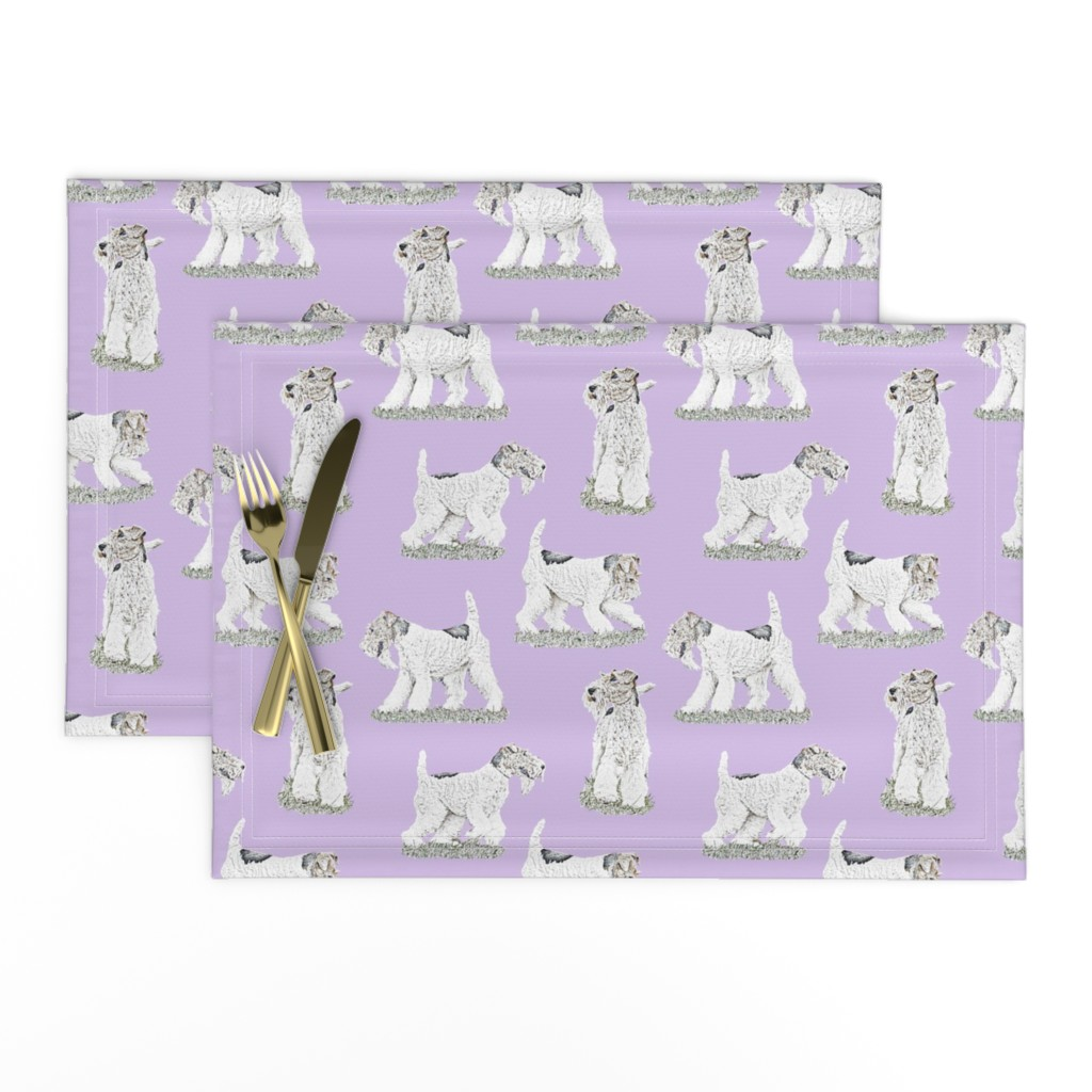 Lamona Cloth Placemats featuring Playful Wire Fox Terrier - purple by rusticcorgi
