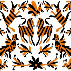 Orange and Black Mexican Otomi Print