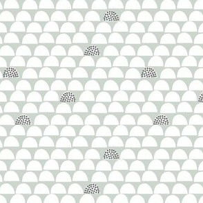 Scalloped Deco Dino - Minty and Grey