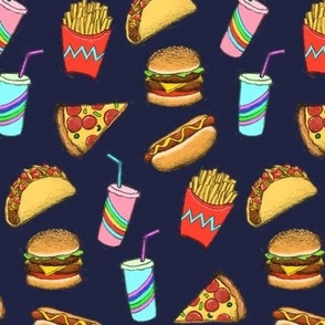 Painted Fast Food on Navy blue