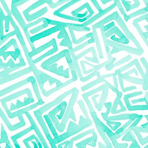 Ancient Modern Watercolor Maze Mint