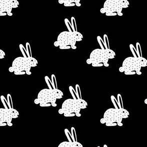 Sweet bunny rabbit kids pastel scandinavian style illustration print black and white