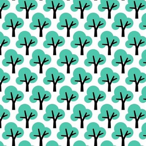 Trees in mint woodland retro scandinavian style spring