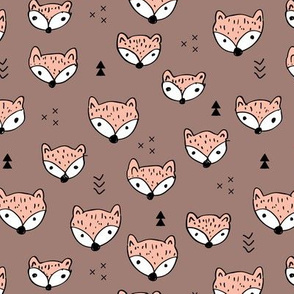 Cool gender neutral fall foxes scandinavian style woodland fabric with geometric details