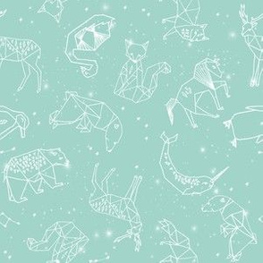 constellations // mint small version cute animals night sky stars nursery baby