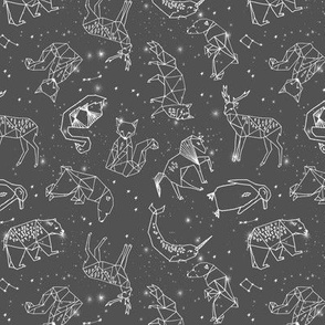 constellations // grey charcoal kids animals geometric origami stars night sky andrea lauren