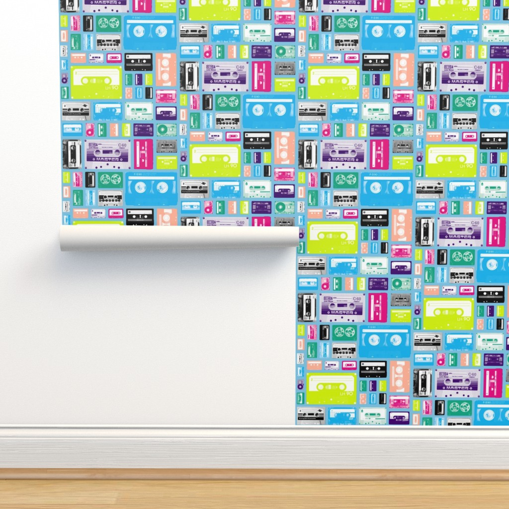 Mix Tapes Light Blue Retro On Isobar By Pennycandy Roostery
