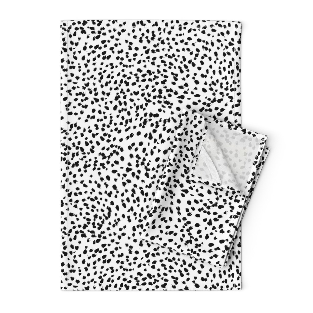 Orpington Tea Towels featuring dalmatian print animal print brushstroke painterly dots abstract black and white  by charlottewinter