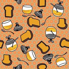 Toast + honey pots in peach