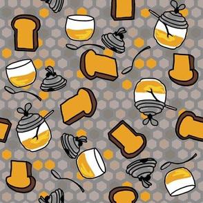 Toast + honey pots in honey/muted