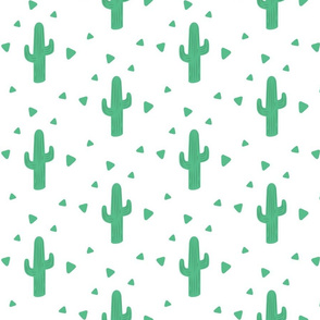 Green and White Cactus Fabric