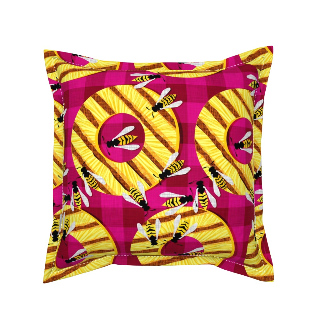 Serama Throw Pillow featuring Perfect Party Pineapple with Picnic Pests by spellstone