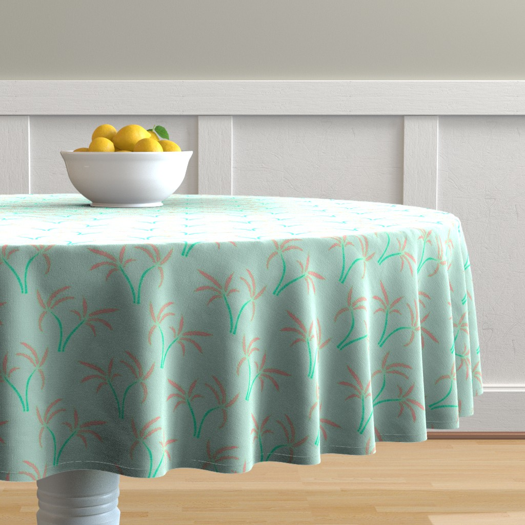 Malay Round Tablecloth featuring Twin Palms in Mint by paper_and_frill