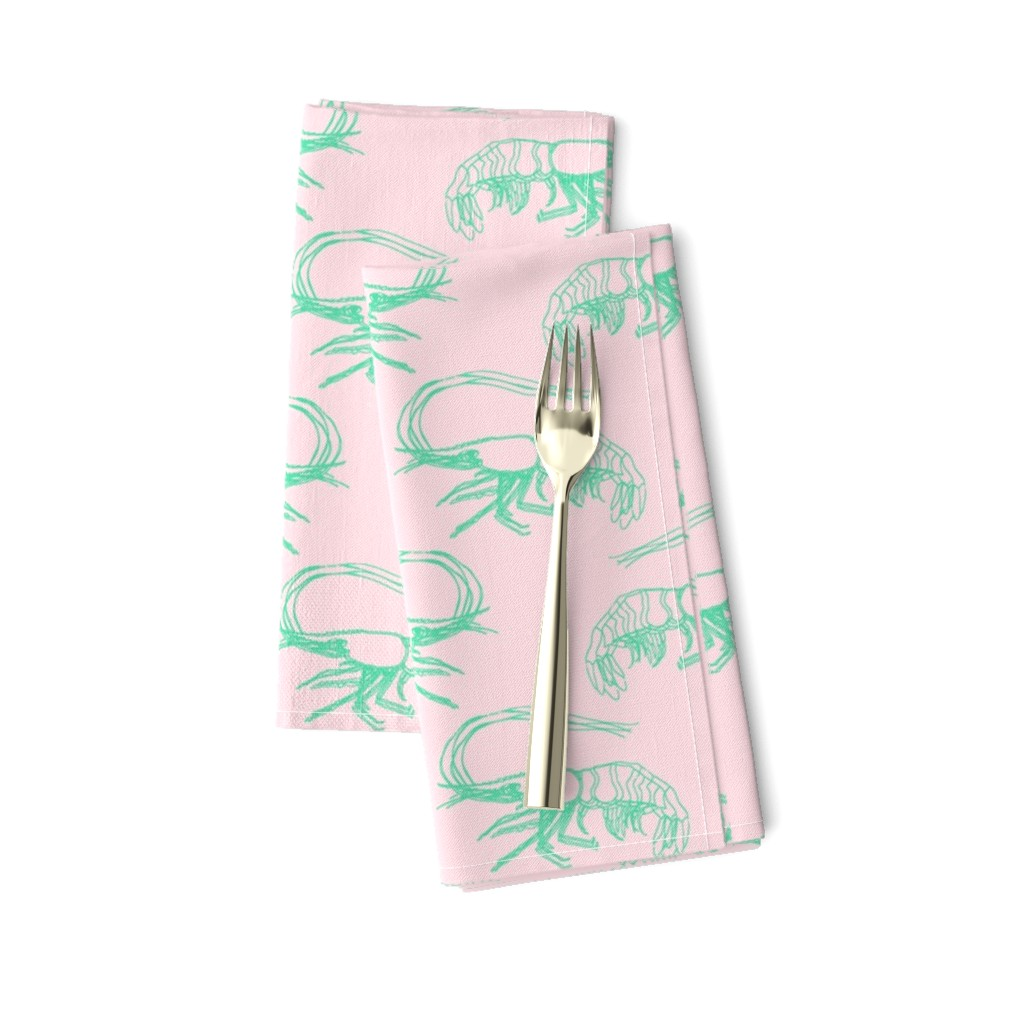 Amarela Dinner Napkins featuring Aqua Shrimp on Pink by paper_and_frill