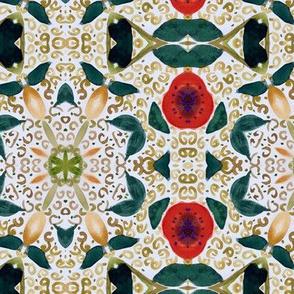Persimmon garden watercolor