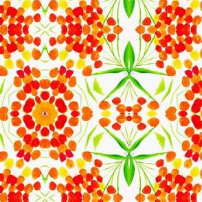 Nasturtium stripes geometric watercolor