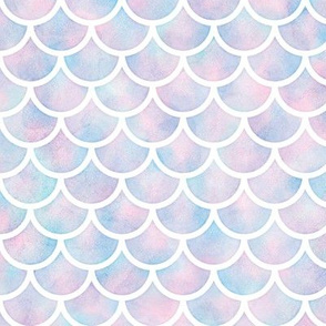 Mermaid Scales Pattern in Cotton Candy Watercolor