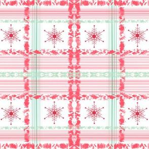 #SAGE Christmas Red Snowflake Plaid ++