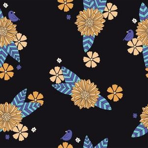 Black Floral with Little Bird - blue yellow
