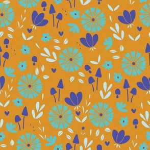 Bold Floral - yellow, teal