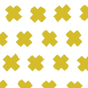 Gender neutral yellow mustard cross and abstract plus sign geometric grunge brush strokes scandinavian style print