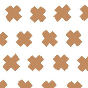 Gender neutral brown cross and abstract plus sign geometric grunge brush strokes scandinavian style print