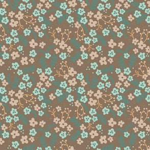 Ava Floral - brown and teal
