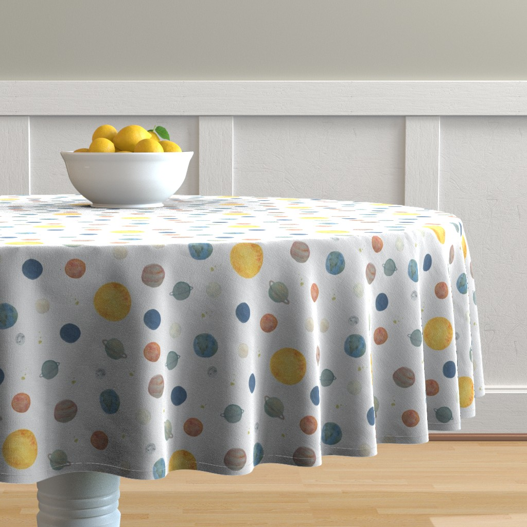 Malay Round Tablecloth featuring Planets by valeri_nick
