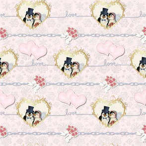Penguin Wedding Hearts On Pink