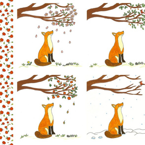 Fox and the Four Seasons Quilt Panel