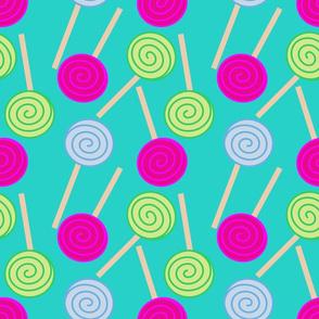 Lollipops On Cyan Blue