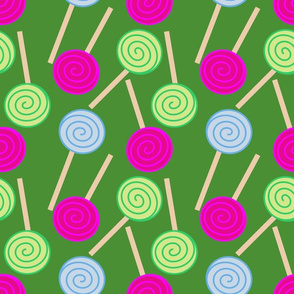 Lollipops On Dark Green
