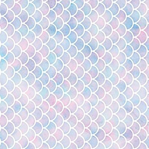 Rotated Small Scale Mermaid Scales Pattern in Cotton Candy Watercolor