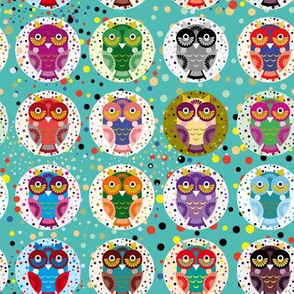 funny colored owls on a turquoise background