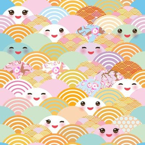 japanese cherry sakura flowers, cute kawaii faces with a smile, pastel color