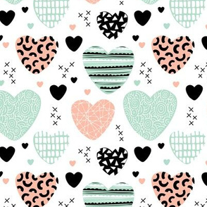 Cute hearts love and romantic wedding theme for kids and lovers valentine mint coral