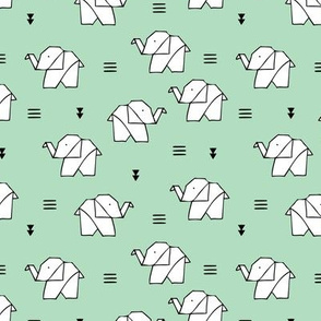 Cute origami japanese paper art baby elephants geometric triangles gender neutral black and white mint