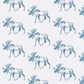 Moose Calligram blue on white