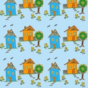 Little Houses Blue