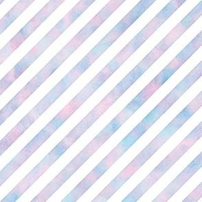Diagonal Stripe Pattern in Cotton Candy Watercolor