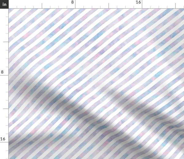 Fabric by the Yard Diagonal Stripe Pattern in Cotton Candy Watercolor