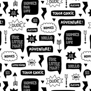 Black and white text balloon cartoon elements with arrows and cool adventure typography gender neutral