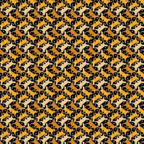 Tiny Trotting Golden Retrievers and paw prints - black